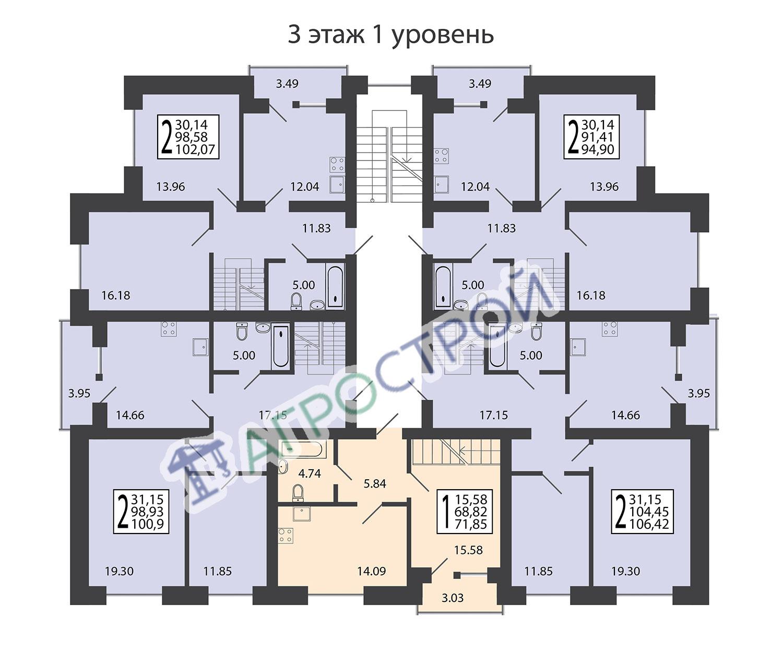 3 этаж 1 уровень